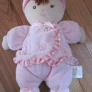 Carters Just One Year Pink Velour First Baby Doll Flowers Striped Ruffle Trim Satin Bows