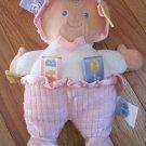 Mary Meyer Plush Taggies Baby Doll Pink Waffle Print White Shirt Satin Feet