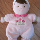 Carters Just One Year My First 1st Doll Pink Flowers Brown Hair Rattle