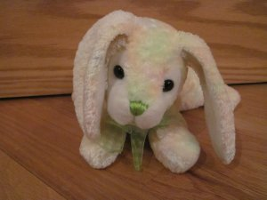 Walmart Plush Laying Bunny Rabbit Pastel Fur White Fluffy Tail Green Nose & Ribbon Bow