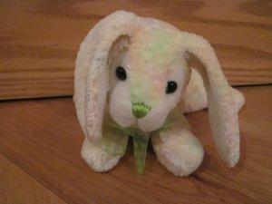 Walmart Plush Laying Bunny Rabbit Pastel Fur White Fluffy Tail Green Nose & Ribbon Bow