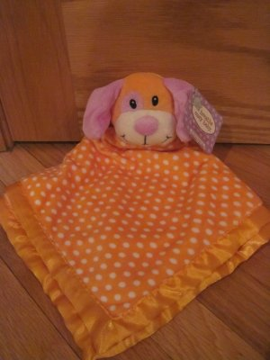 Breathe Easy Animal Adventure Orange & White Puppy Dog Polka Dot Blanket Lovey Purple Ears Nose