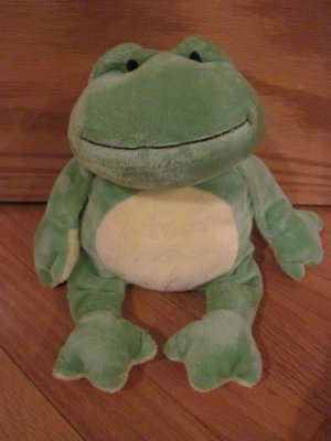 Ty Pluffies Plush Green & Yellow Frog Named Ponds Tylux 2009