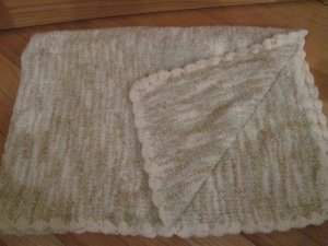 Tiddliwinks Tan, Cream & Green Stripe Chenille Baby Blanket Scallop Edge