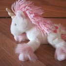 Russ Berrie White Unicorn Pink Yarn Mane Fur Hearts Name Aurora No. 23444