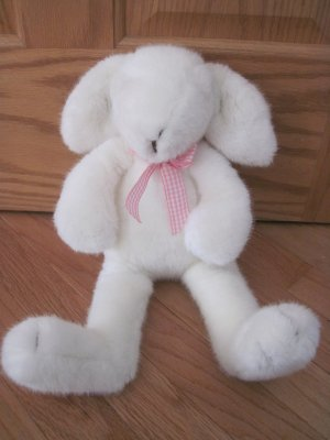 Manhattan Toys 2000 Plush 16 Inch White Furry Bunny Rabbit