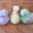Vintage 1987 Commonwealth Plush Swan with Floral Wings Pastel Yellow, Purple & Green Flowers