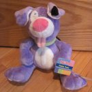 Nuby Luv N' Care Plush Purple Puppy Dog Tickle Toes Laughs Green Collar Pink Tongue
