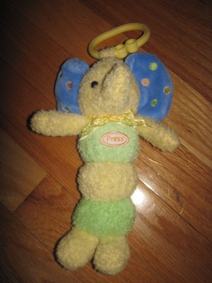Carters Plush Yellow Green &amp; Blue Elephant Musical Light up Hanging Toy Dot Accents