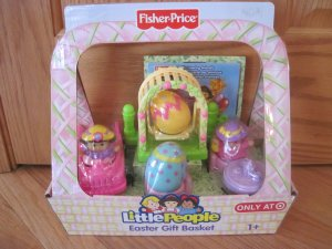 Fisher Price Little People Tea Party Girl Playset Easter Gift Basket + DVD