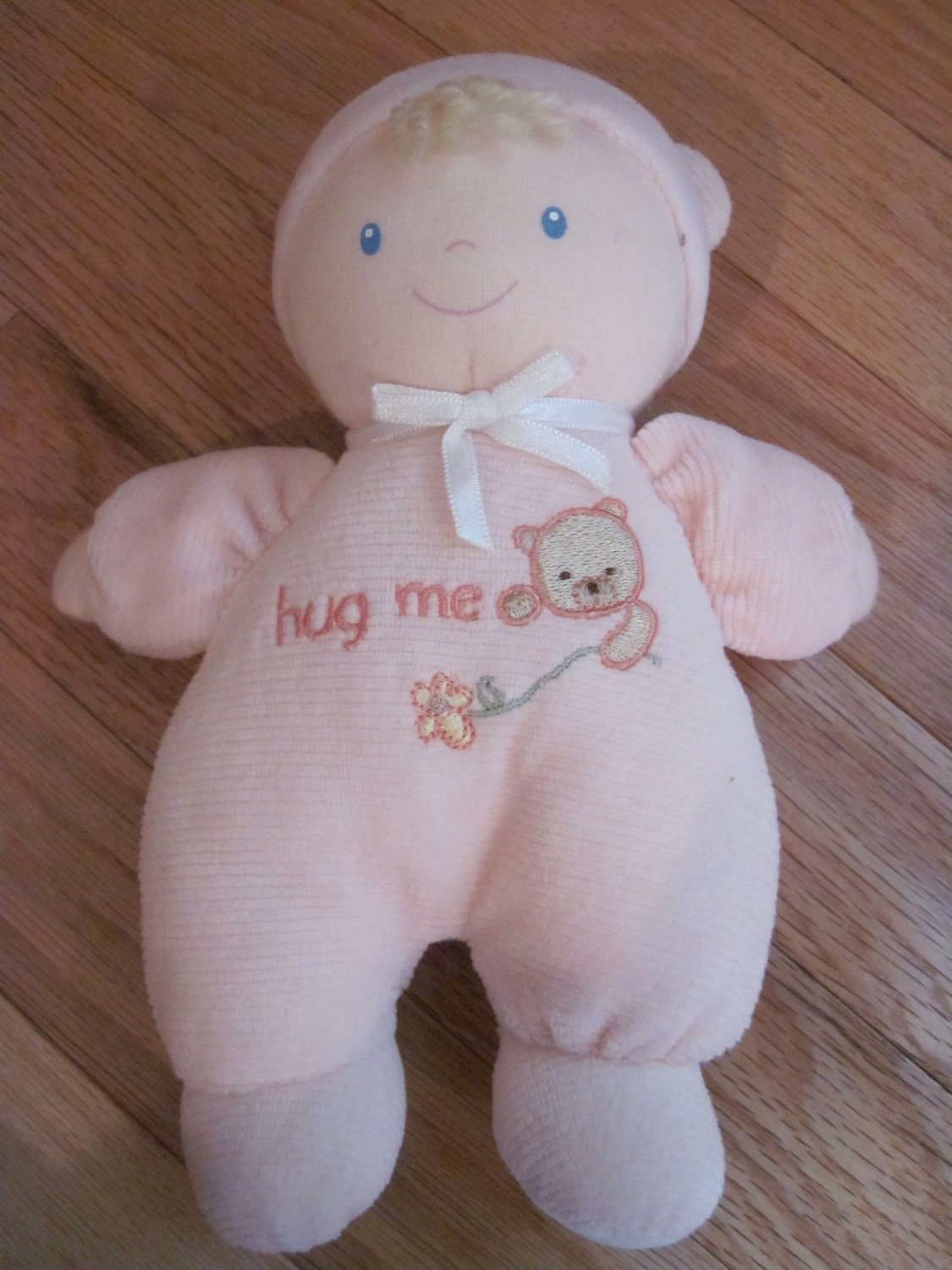 Carters Classics Pink Velour Baby Doll Hug Me Bear Pajamas Blond 75365