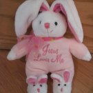 DanDee Collectors Choice Pink & White Plush Bunny Rabbit with Bunny Slippers Sings Jesus Loves Me