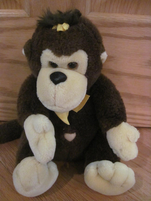Vintage 1988 Brown Plush Monkey Yellow Ribbon Heart Belly Button Gorilla Ape