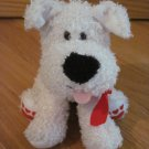 Hallmark Cream Beige Plush Curly Puppy Dog Red Heart Feet Ribbon