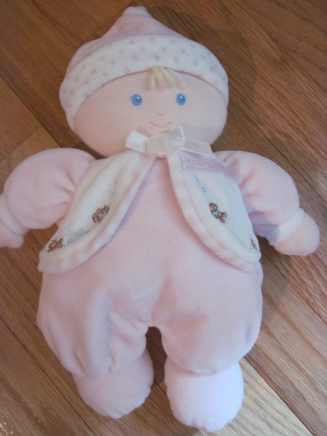Carters Just One Year Plush Soft Baby Doll Pink & White Velour Pajamas with Bears Polka Dots 74465