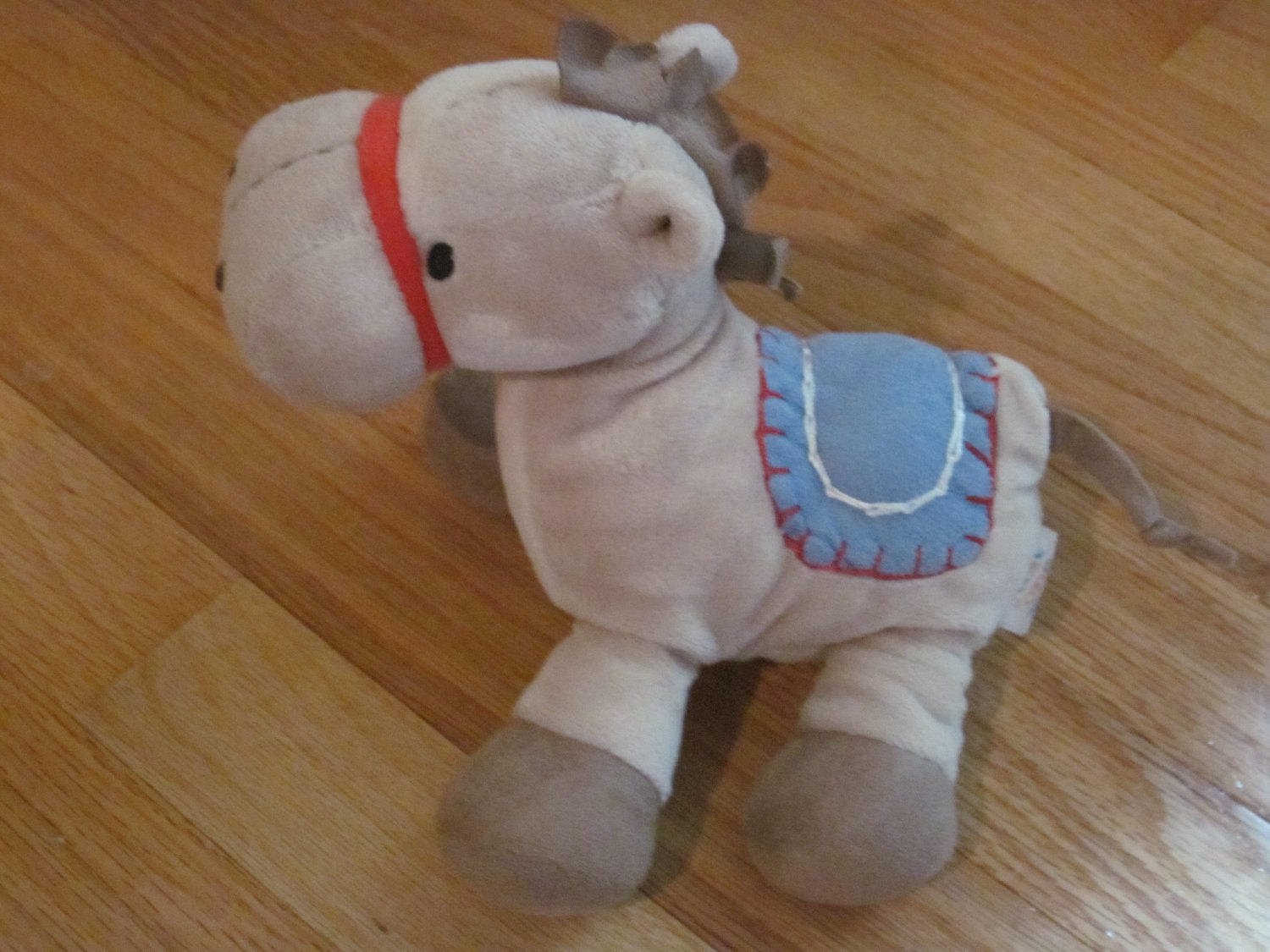 Carters Just One Year Plush Horse Pony Rattle Blue Saddle Red Bridle