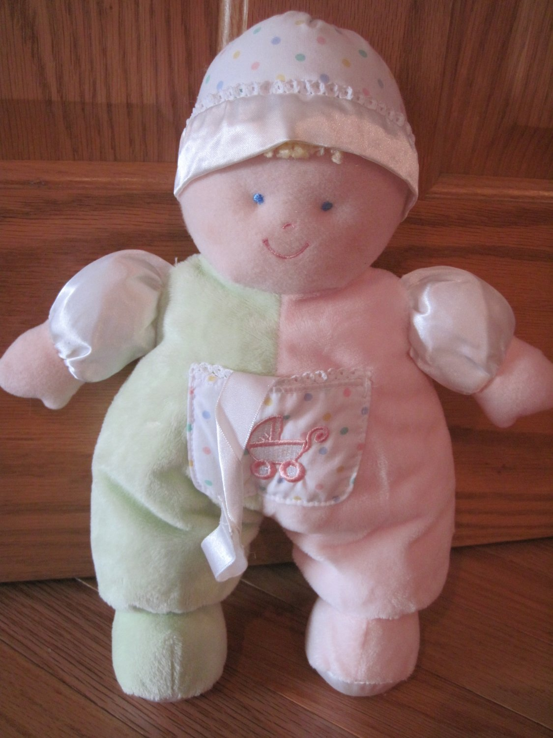 Kids Preferred Soft Baby Doll Pink Green White Satin Polka Dots Stroller