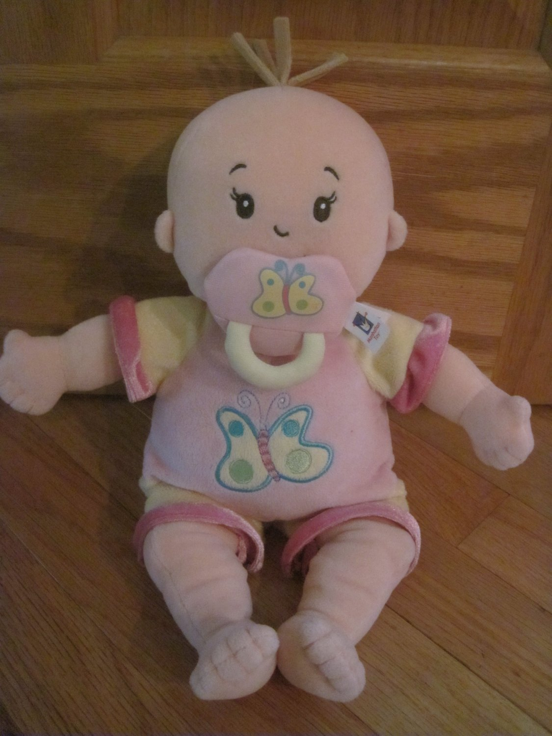 Manhattan Toys Plush Baby Doll Named Stella with Pacifier Blond Hair Butterfly Outfit 2005