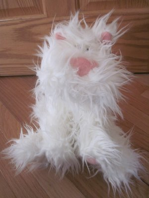 Gund Plush White Hairoids Puppy Dog Named Hairball 30089 Pink Nose