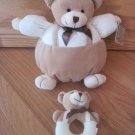 Infantino Priscilla Larson Jolly Bear Plush Teddy Bear Thermal Rattle Round Ball Toy