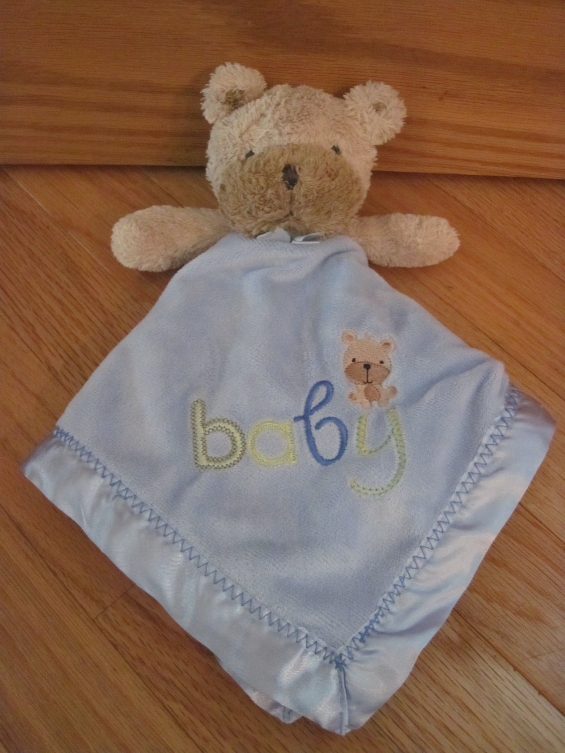 Carters Child of Mine Baby Puppy Dog Baby Lovey Plush Rattle Blue Blanket
