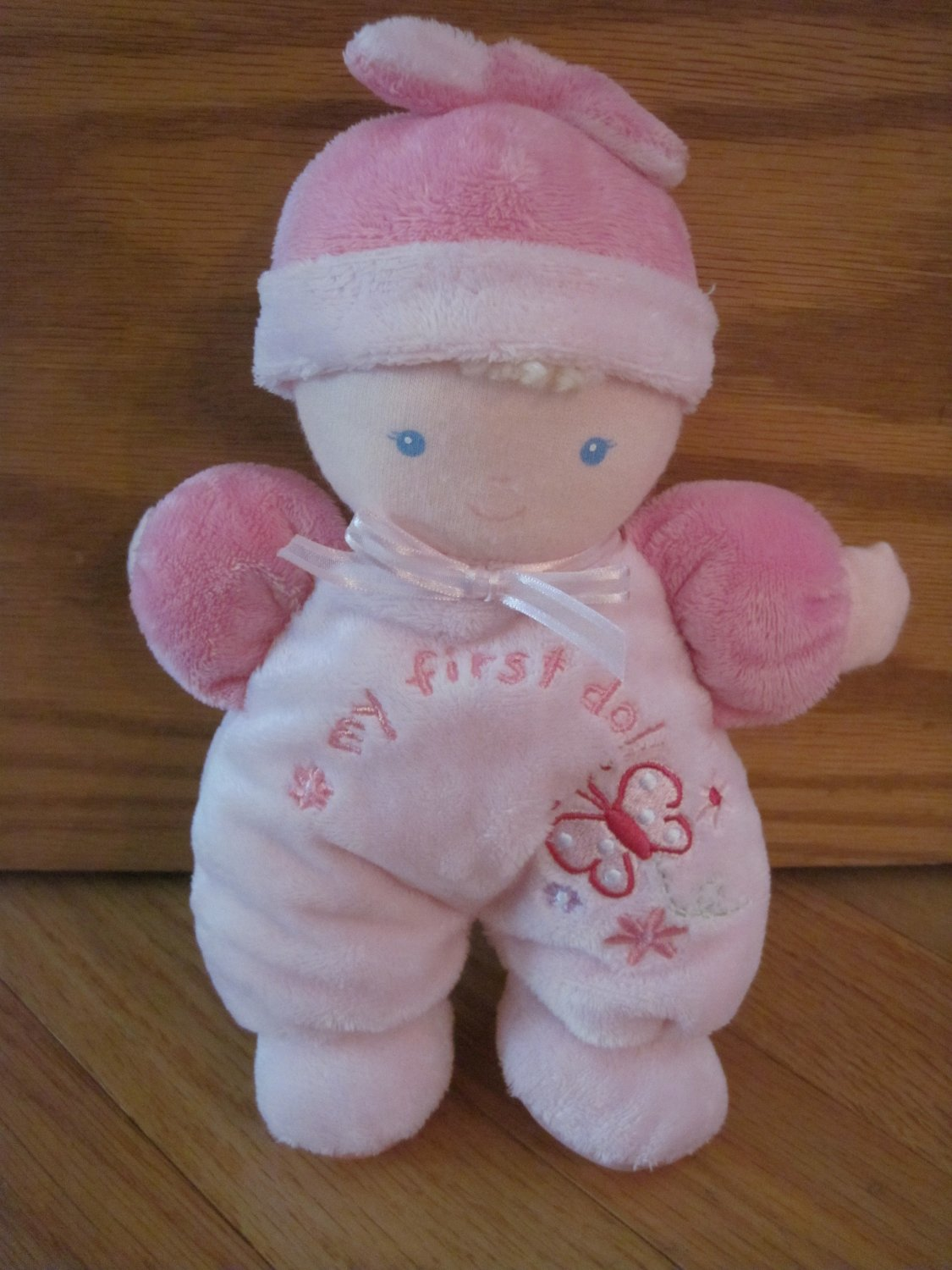 Carters Just One Year My First Doll Blond Pink Velour Outfit Hat Butterfly Flowers Rattle