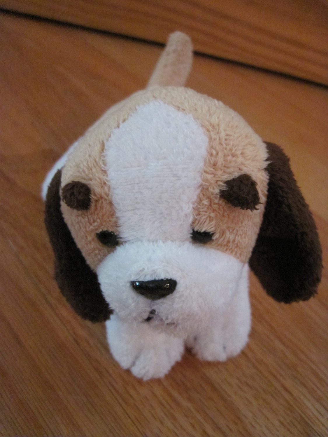 Shanghai Toy Time Enterprises White Beige Brown Puppy Dog Eye Brows Plush Toy