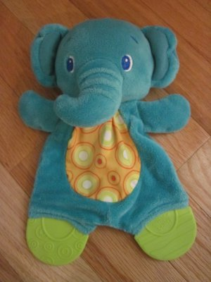 Bright Starts Plush Elephant Teether Circle Dot Tummy Rattle Crinkle