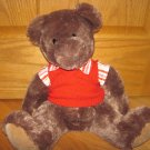 Shanghai Toy Time Enterprises Plush Brown Teddy Bear with Striped Shirt Red Sweater Vest