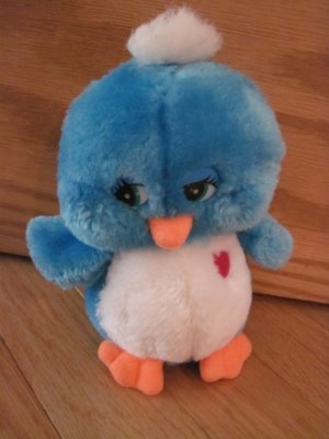 Vintage Plush Blue Bird with Red Heart Squeak Chirp Sound Dakin?