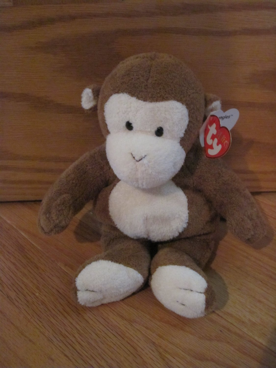 Ty Pluffies Plush Brown & Cream Monkey Named Dangles Tylux 2002 With Tags