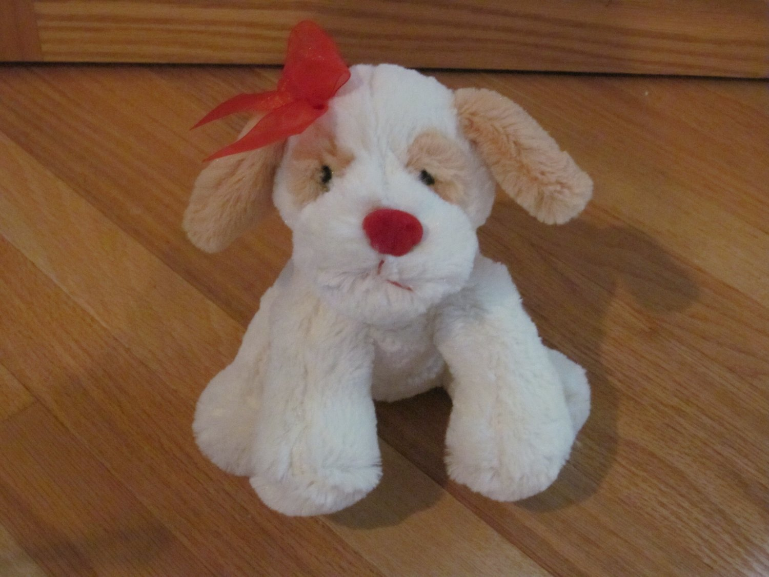 Dandee Collectors Choice Plush Cream & Beige Puppy Dog Red Nose Ribbon