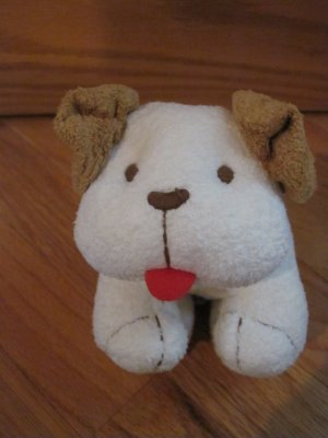 Old Navy Brown & White Plush Puppy Dog Baby Rattle Toy