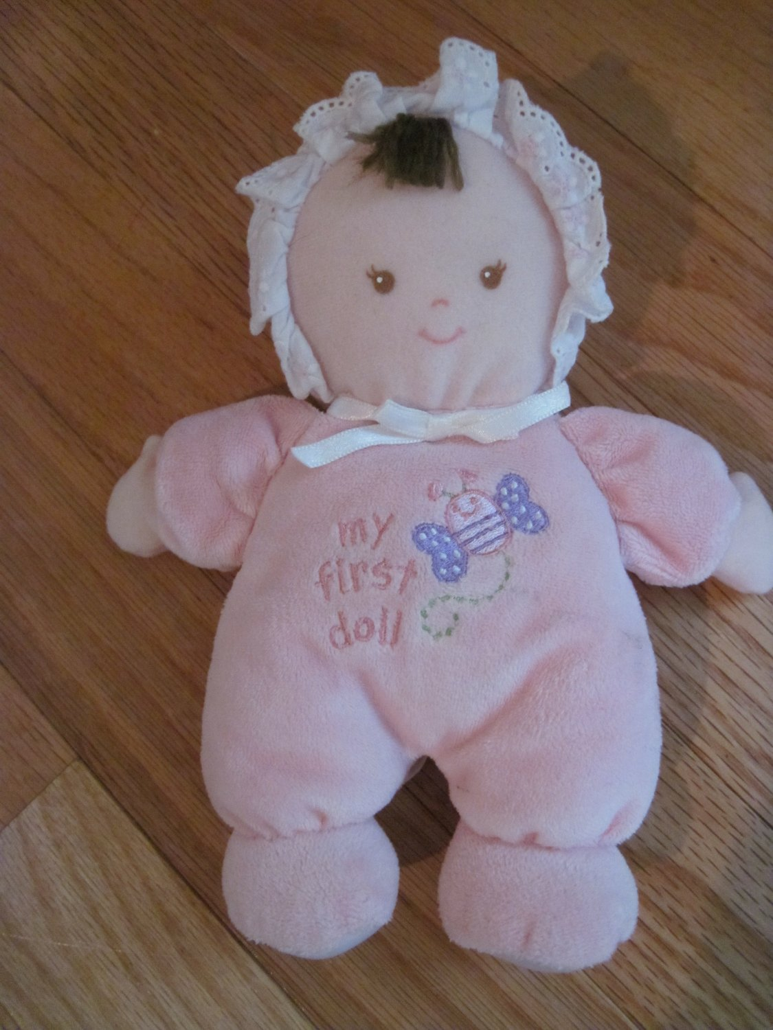 Small Wonders My First Doll Pink Velour Pajamas Brown Hair Butterfly 5271
