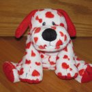 Ty Pluffies Plush Red & White Puppy Dog with Hearts Tylux 2006