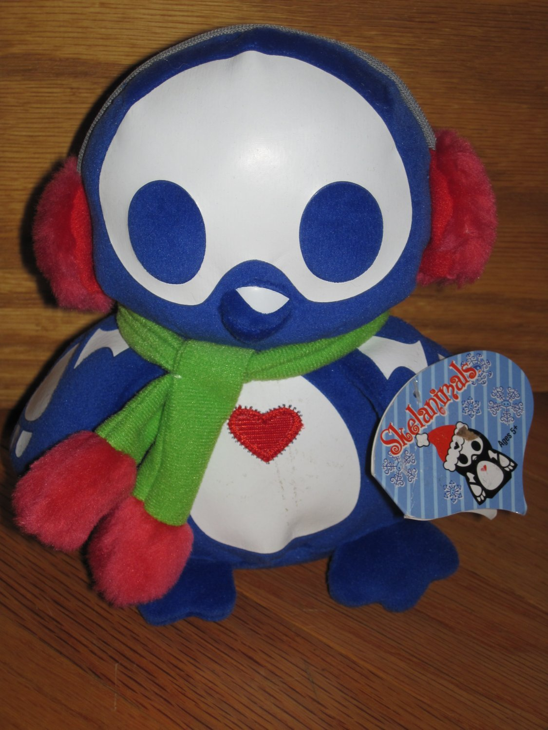 Skelanimals Pen Penguin Plush Blue Earmuffs & Scarf Heart Chest Winter Christmas