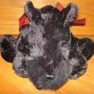 Animal Adventure Plush Black Scottie Scottish Terrier Puppy Dog Red Plaid Ribbon