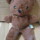 Vintage Antique Knickerbocker Stuffed Brown Teddy Bear Yellow Eyes Red Felt Tongue