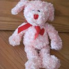 Animal Adventure Plush Pink Curly Puppy Dog Red Ribbon Bow Heart Chest