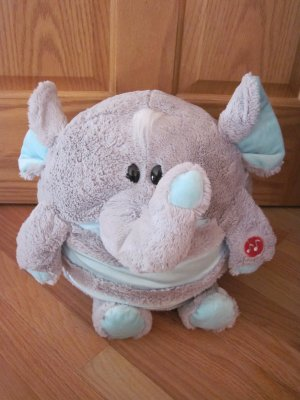 Jay At Play Mush A Belly Chatter Grey Elephant Plush Toy Microbead Honks & Sounds