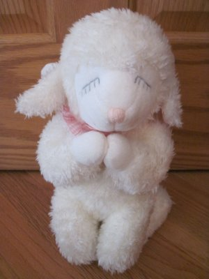Russ Berrie White Good Night Prayer Lamb Musical Plush Toy Angel Wings Pink Gingham 24088