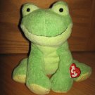 Ty Pluffies Plush Green Frog Named Leapers Tylux 2006 Mint with Tags
