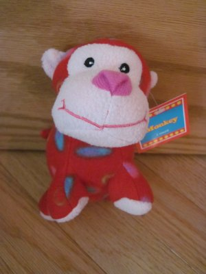 Best Made Toys Red Circle Fleece Monkey Plush Animal Pink Face Target