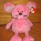 Ty Classics Pluffies Pink Mouse Named Patter Heart Feet Ty 2005