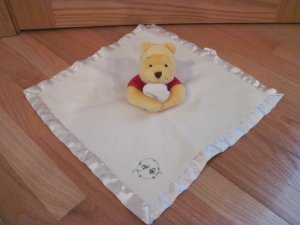 Disney Winnie the Pooh Cream Fleece Security Blanket Lovey Red Shirt Honey Bees