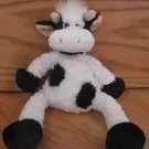 Princess Soft Toys 2007 Black & White Plush Cow Peach Horns Spunky White Hair