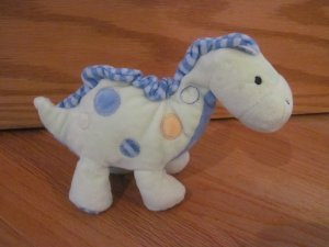 Carters Just One Year Plush Dinosaur Rattle Green Blue Dots Stripes