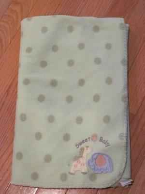 Target Circo Green Polka Dot Fleece Baby Blanket Sweet Baby Star Giraffe Elephant