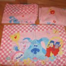 Blues Clues Twin Size Pink Sheet Set Bedding Flat Fitted & Pillow Case