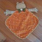 Green Satin Minky Frog Security Blanket Lovey Orange & White Polka Dots Green Bow Tie